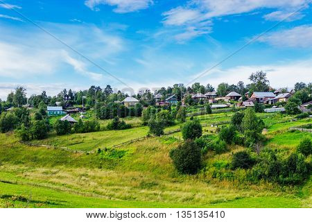 View of the Russian village summer day