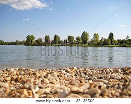 Mannheim public bathing beach / lido at river Rhein