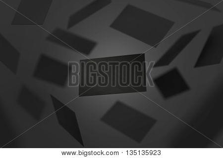 Blank black visiting cards falling 3d rendering. Namecard design mockup. Visit clear dark cards mock up presentation. Calling card template for company branding name phone number email address.