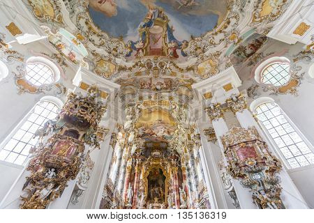 WIES, GERMANY-JUL 18 Interior of Pilgrimage Church of Wies on July 18, 2015 at Wies Germany. The Pilgrimage Church of Wies is an oval rococo church, designed in the late 1740s by Dominikus Zimmermann.