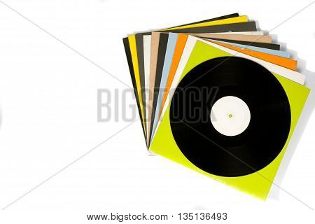 Colorful Vinyl Records On White Background