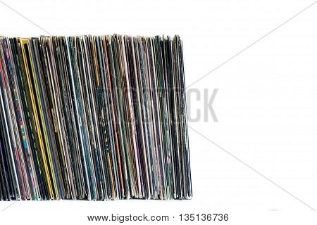 Vinyl Records On A White Background