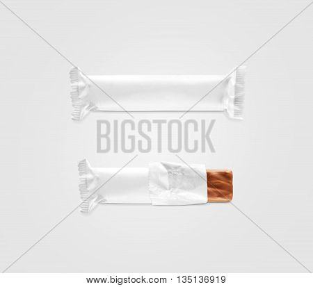 Blank white candy bar plastic wrap mockup isolated. Closed and opened chocolate bar packaging wrapper template. Choco factory logo candybar package mock up. Sweet pastry shop energy bar container.