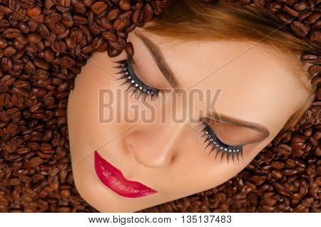 fashion face with make-up with coffee, top view