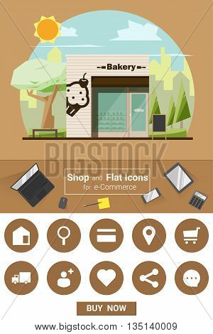 Shop and flat icons for e-commerce Bakery shop, vector, illustration