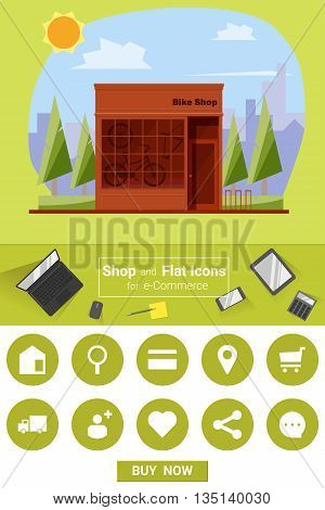 Shop and flat icons for e-commerce Bike shop, vector, illustration