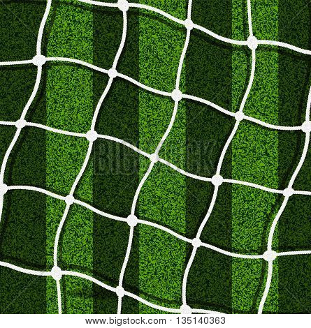 The mesh gate on the background of a football field, vector art illustration.