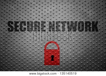 Secure Network text with red lock on metal background