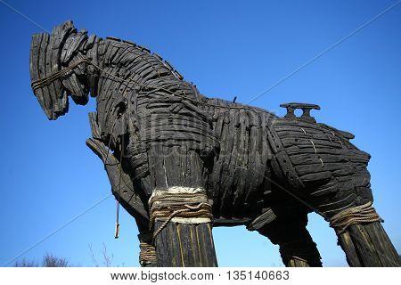 Trojan Horse in Canakkale Square, Dardanalles, Turkey.