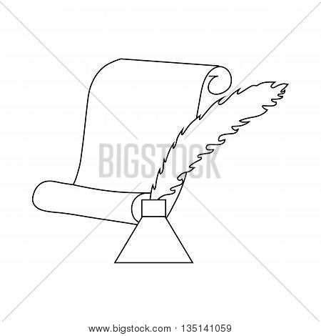 Quill pen with inkwell and paper scroll icon in outline style on a white background