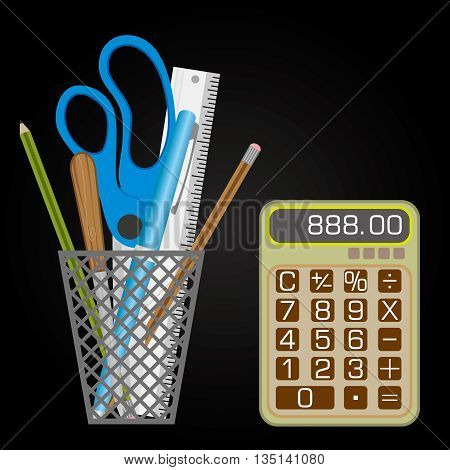 Mesh style Pen holder with small calculator