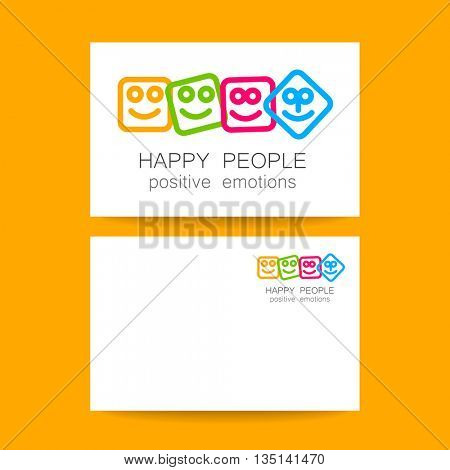 Happy people logo template. Concept business card design for company. Positive emotions, happy games, entertainment sphere, unity emblem, happy people team, society fund and etc. Vector.