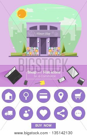 Shop and flat icons for e-commerce Flower shop, vector, illustration