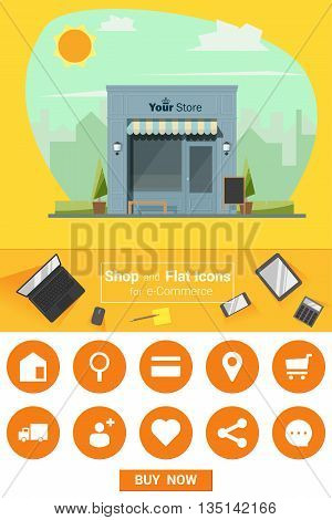 Shop and flat icons for e-commerce , vector, illustration