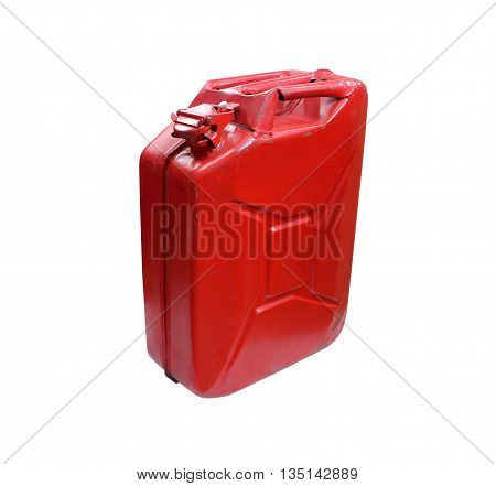 Real fuel container isolated on white texture