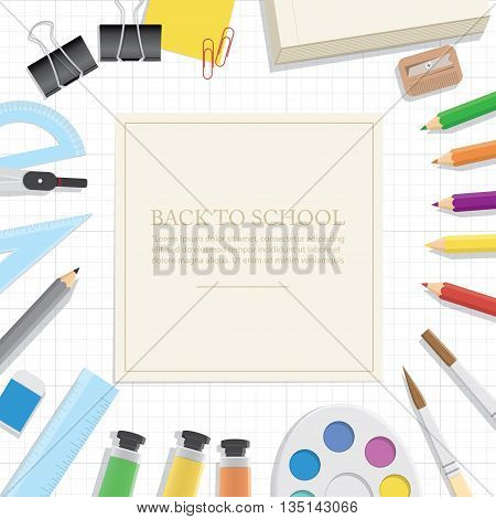 Illustration vector Poster Supplies stationery an extensive range of study or office is on the grid paper.