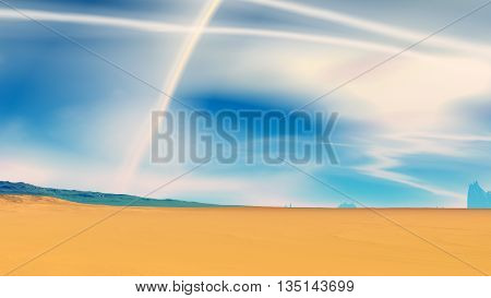 Stranger Planet. Desert And Sky. 3D Illustration