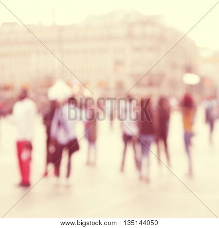 Abstract blurred image of people on the street.