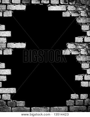 brick wall with large hole