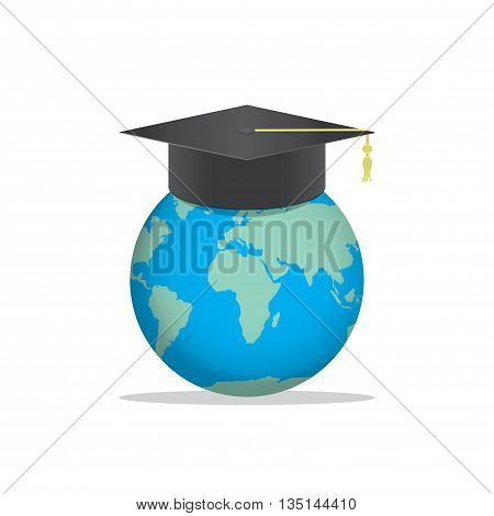 Illustration vector World with a Graduation hat on top. Means education is recognized by people all over the world.