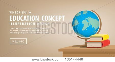 Illustration vector Banner Globe model and books on the desk for learning many things about the world or meaningful learning.