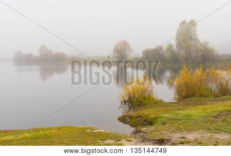 Autumnal landscape with vist over Vorskla river in Ukraine