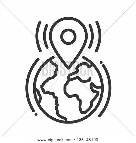 Location tag single isolated modern vector line design icon with the Earth planet and geotagging sign