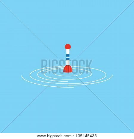 Fishing float on water. Fishing float in the flat style . The logo or emblem of your store or company. Vector illustration.