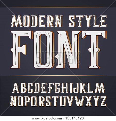 Vector handy crafted modern label font. On dark background