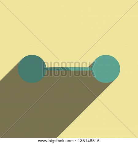 Flat icons with shadow of athletic barbell. Vector illustration