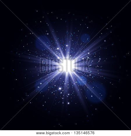 Glow light effect, Glowing sparks, Star burst with sparkles, Vector light effect