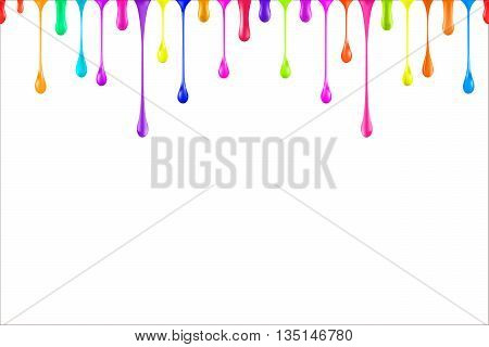 Rainbow colors oil paint glossy drops isolated on white.