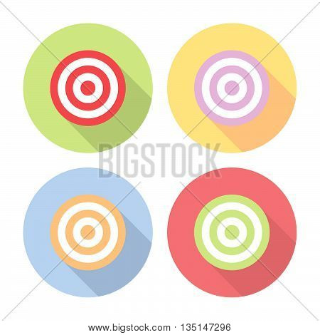 Target Sign Goal Flat Style Icons Set