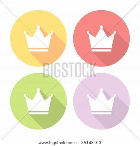 Golden Crown Flat Icons Set