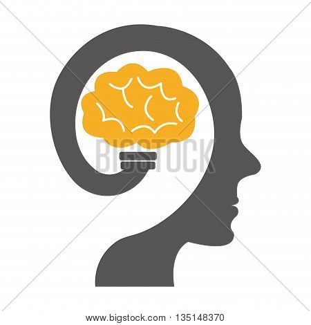 black human head  with yellow brain icon on side view over isolated background, vector illustration