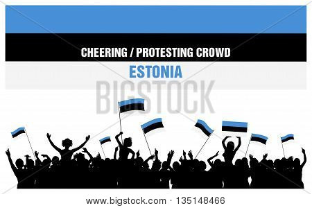 Estonia silhouettes of cheering or protesting crowd of people with Estonian flags and banners.
