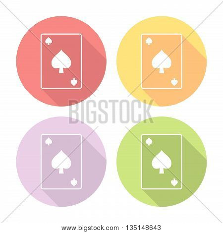 Spades Suit Playing Card Flat Icons Set
