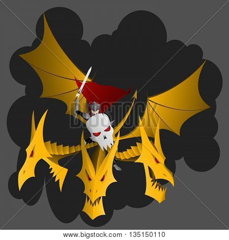 Russian fairy tale Tsar Koschey armored with the sword and shield rides the dragon - three headed zmei gorynych
