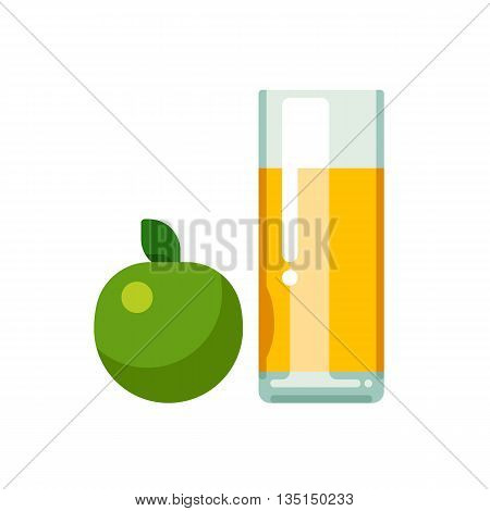 Apple juice in glass. Vector flat illustration isolated on white background.