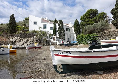 Cadaques Spain - June 16 2016: House and Museum of the famous Salvador Dali at the harbour of Port Lligat Spain.