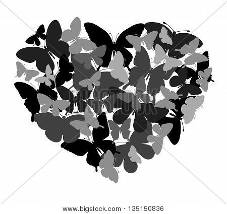 Design with butterflies in the shape of heart. Perfect for background greeting cards and invitations of the wedding birthday Valentine's Day