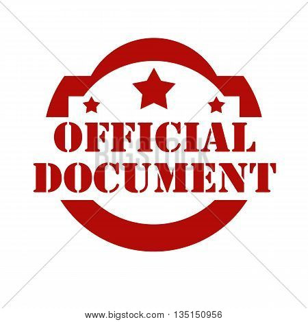 Red stamp with text Official Document,vector illustration