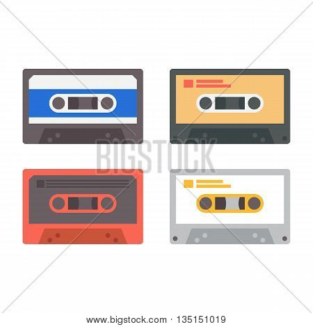 Set of various audio tapes. Vector flat illustration