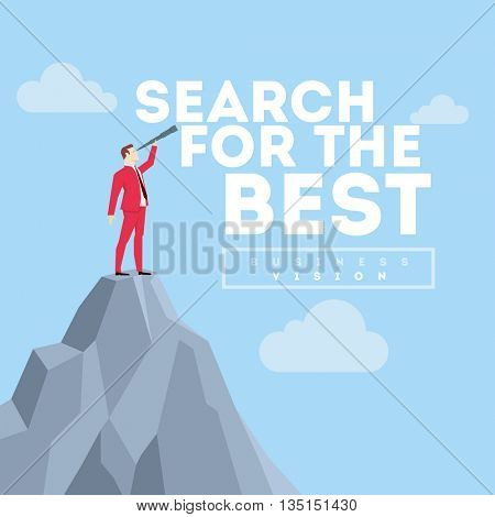 Search for the best. Business concept illustration. Businessman in red suit. Flat style vector illustration.