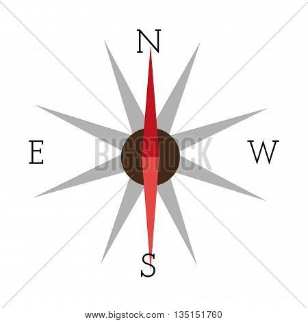 compass icon with red and grey pointers over isolated background, vector illustration