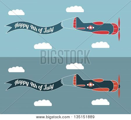 Happy 4th of July banner with plane. illustration about the image of banner for an Independence Day.Happy 4th of July - Independence Day