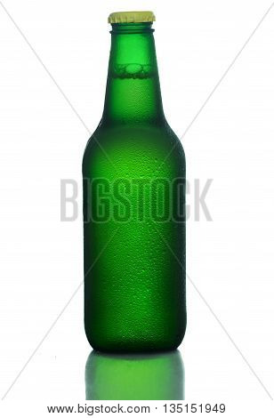 Green bottle of cold beer with drops of water isolated on white background. Large format.
