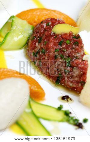 Pork steak tartar close up