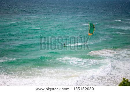 Kiteboarding, kites in the sky