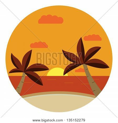 Vector flat an illustration with the image of the sea and beach with palm trees and the sun at sunset.  .Tropical Sea Landscape.Summer relaxation poster and flyer summer sunset tropical landscape